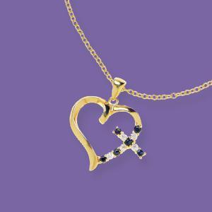 Heart and Cross Goldtone Pendant