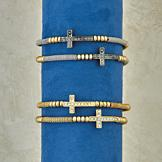 Coil Cross Bracelet - Goldtone