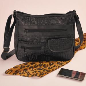 Black Alligator-Look Handbag
