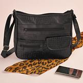 Black Alligator-Look Handbag
