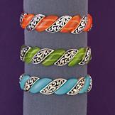 Art Nouveau Stretch Bracelet - Green