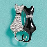 Twin Kittens Brooch