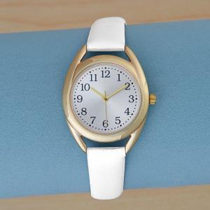 Goldtone Watch with Simulated Leather Band