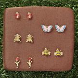 Garden Lover's Pierced Earrings - Set of 5 Pairs