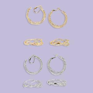 Basket-Weave Design Hoop Earrings - Pierced Silvertone