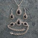 Onyx Teardrop Cabochon Jewelry Trio