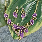 Purple Flower Bib Necklace