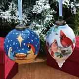 Hand-Painted Glass Ornament - Holy Family Nativity
