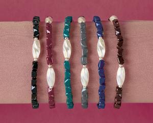 Stone Stretch Bracelets - Set of 6