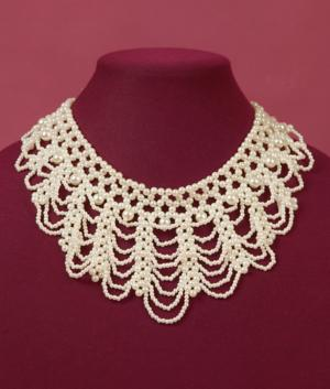 Laced Bead Collar Necklace