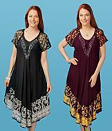 Embroidered Dress - Wine