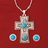 Southwestern Cross Pendant and Earrings