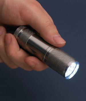 Palm-Size Flashlight with 9 Brilliant LEDs