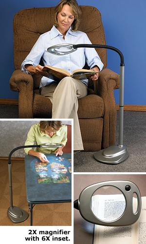 12-LED Dual Magnifier Gooseneck Floor Lamp - Visual Aids - Health ...