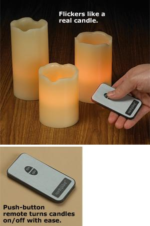 3-Piece LED Flicker Candle Set with Remote