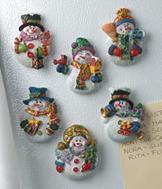 Sparkle Snowman Magnets - Set of 6
