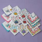 Flower Design Handkerchiefs - Set of 24