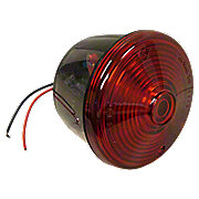 ABC548 - 12 Volt Round Red Tail Light Assembly With License Lamp Window