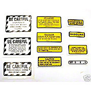 DEC416 - 11 Piece Miscellaneous Decal Set (For IH 240 Gas Tractors That Have Metal Emblems)