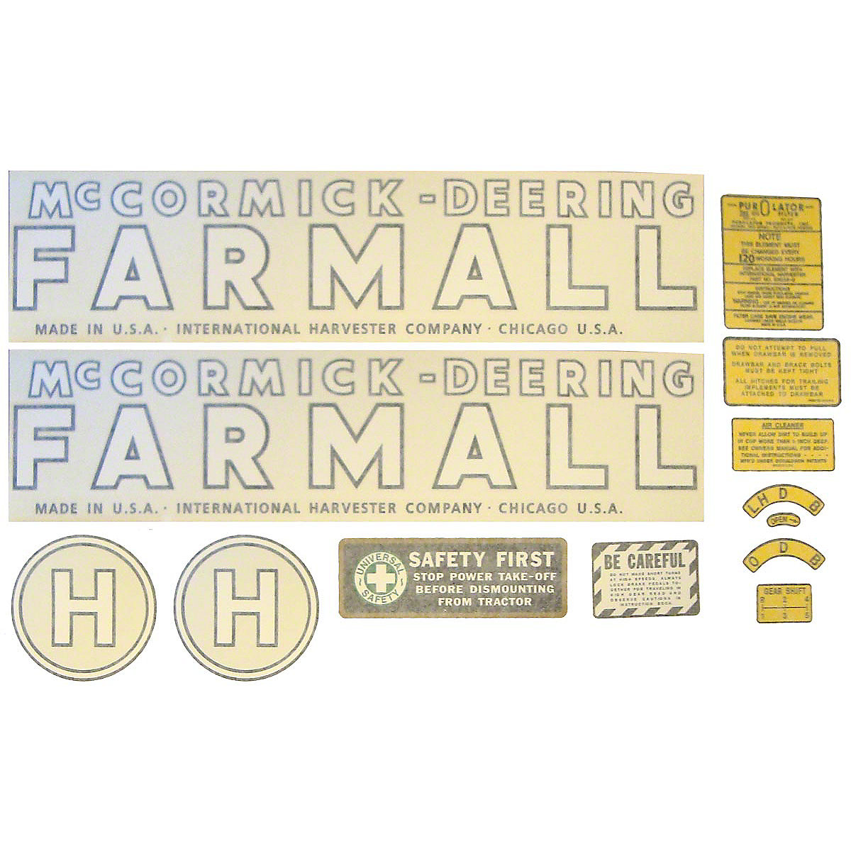DEC441 1939 - 1944 McCormick Deering H Vinyl Decal Set