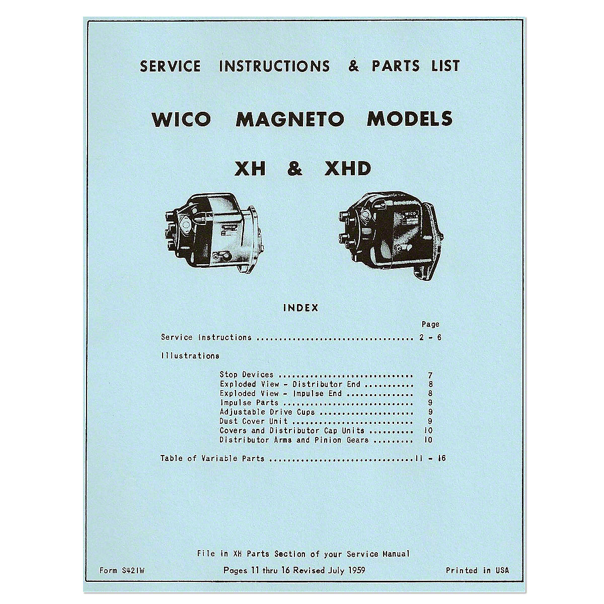 MAG6 Wico XH And XHD Magneto Service - Instructions And Parts List (1959)
