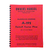 REP088 - MCD A-192 Plow Owners Manual  ---  Setting Up Instructions / Parts List