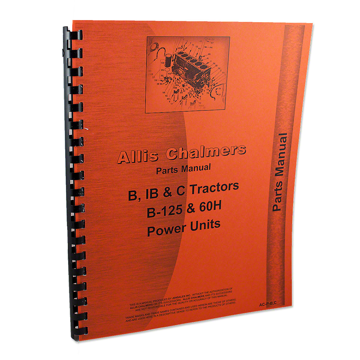 REP1734 Allis Chalmers B, C, IB Tractors, B-125 Power Unit, Parts Manual