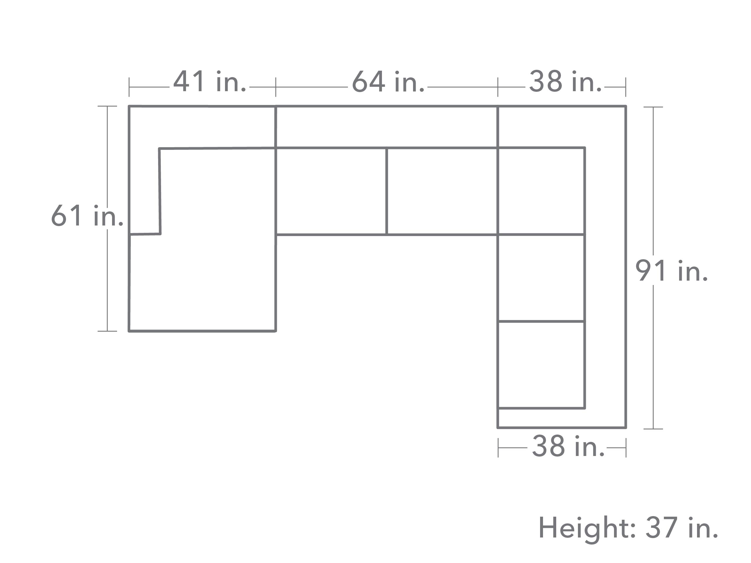 Rowan 3 Piece Sectional - Slate