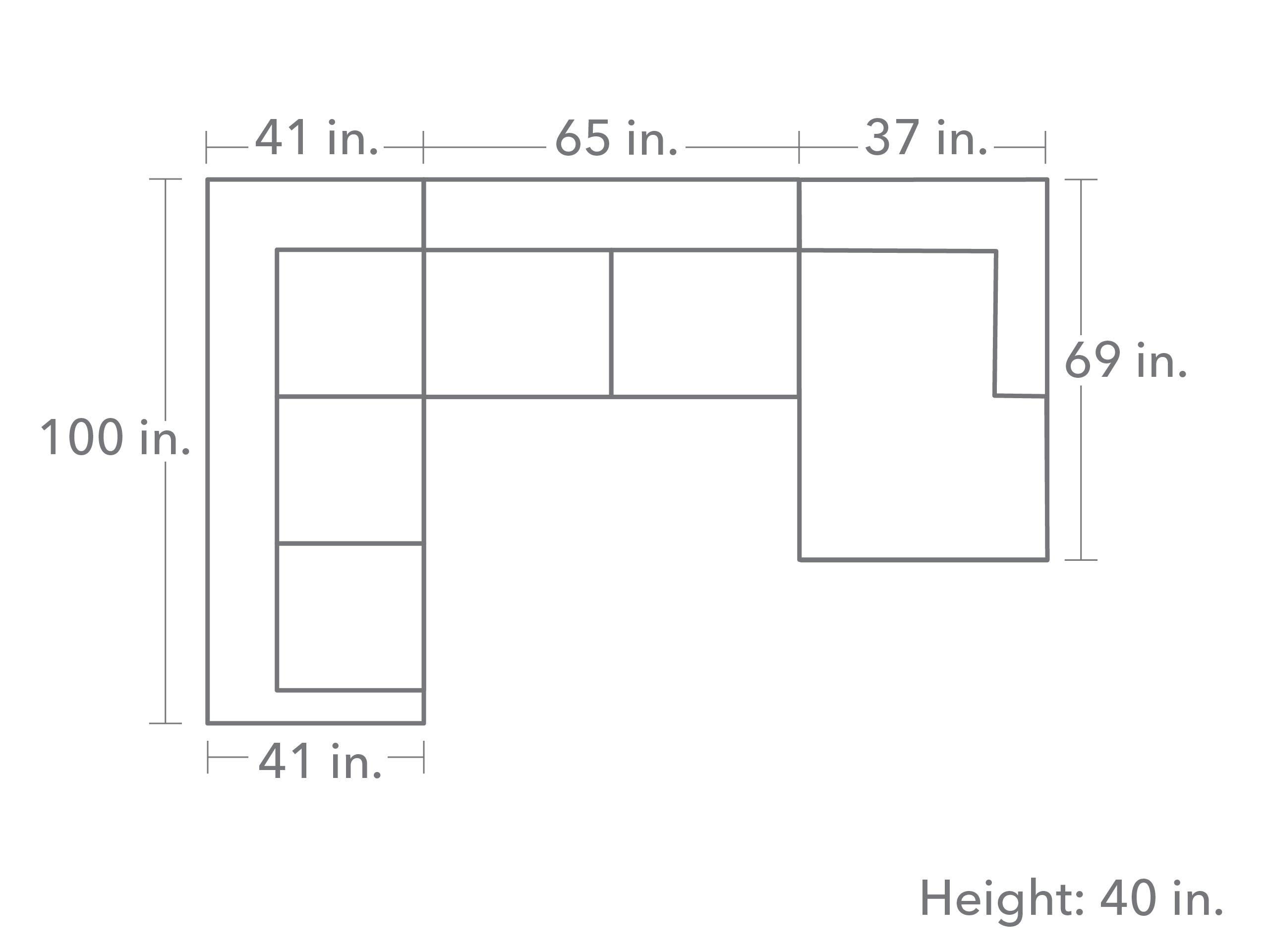 Trista 3 Piece Sectional - Slate