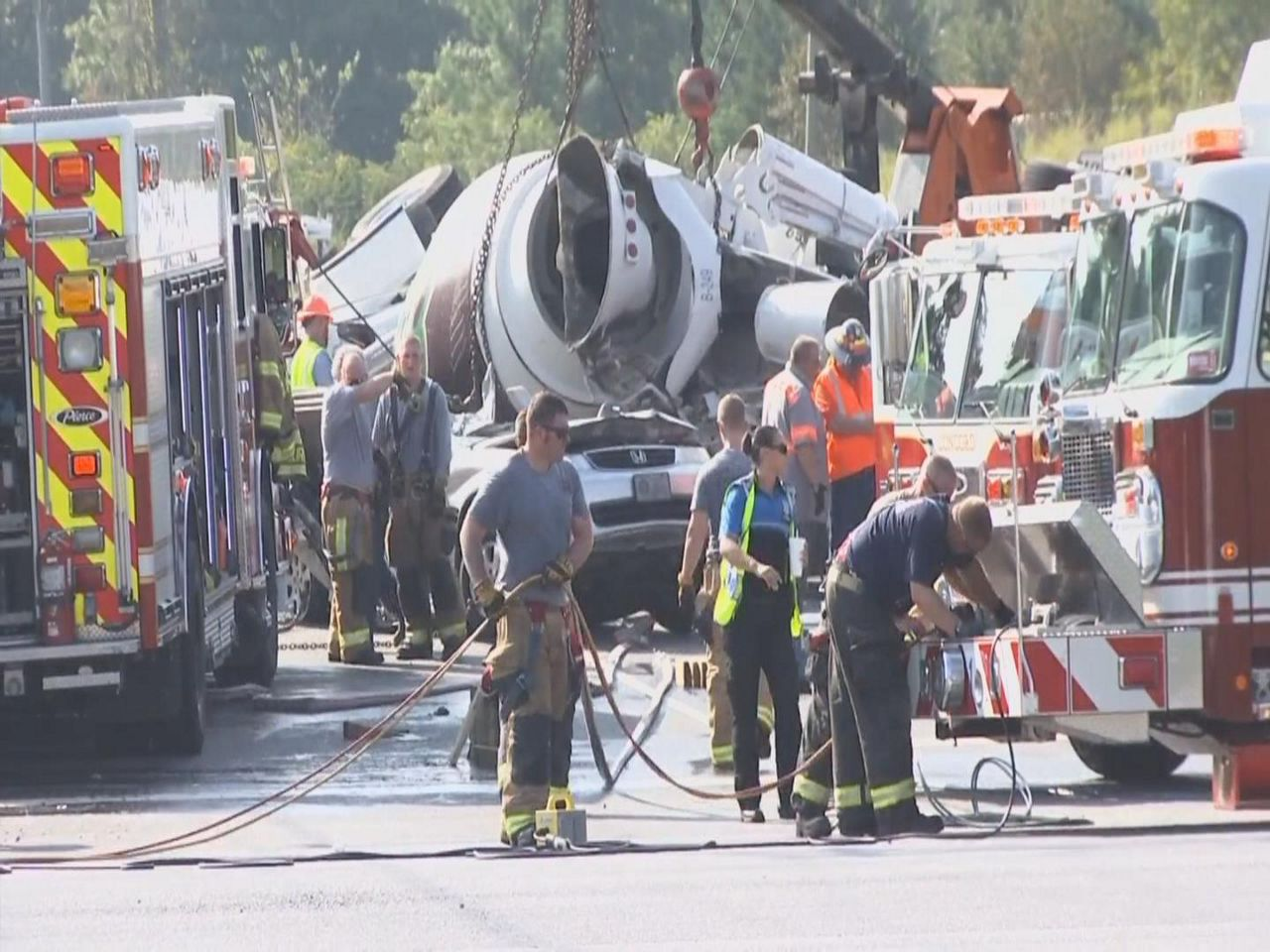 Four injured when cement truck hits minivan in Concord