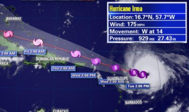 Irma continues on a westward track toward the Leeward Islands at 14 mph
