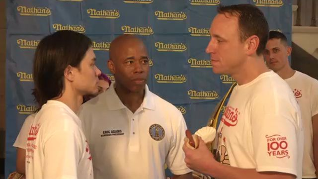 Nathan's Hot Dog Eating Contestants Step Up to the Scale
