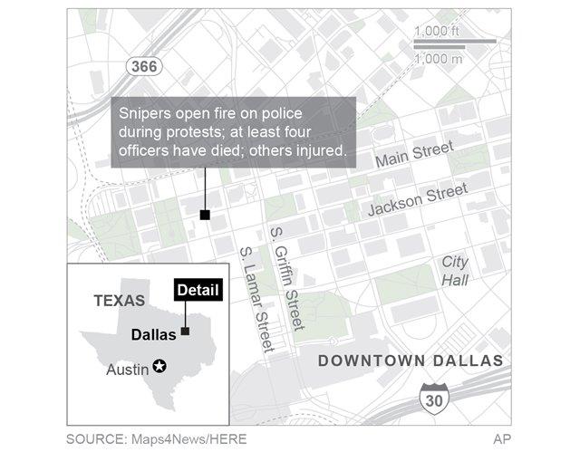 Dallas Shooting Scene Map