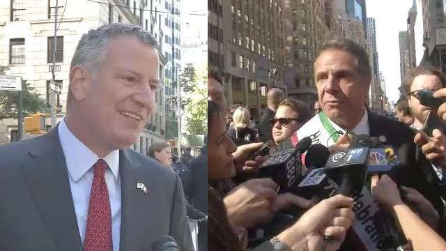 Separate Columbus Day Parade Appearances by de Blasio and Cuomo Show Feud Continues Even as they Agree on Presidential Debate