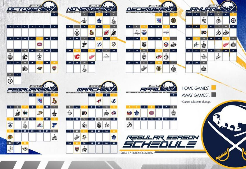 photo relating to Sabres Schedule Printable known as buffalo sabres plan