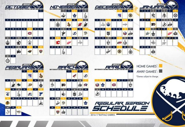 Lively image for sabres schedule printable