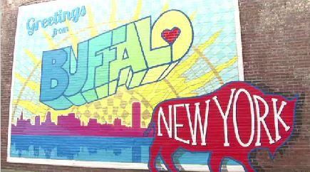 Local artist paints his love for buffalo for Bufflon revetement mural