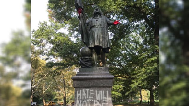Christopher Columbus Statue Vandalized With 'Blood' In Manhattan