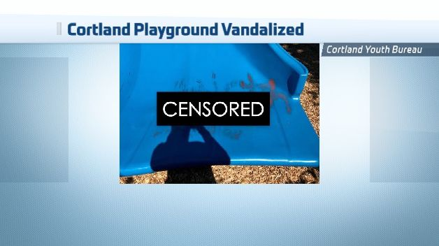 new playground at dexter park in cortland vandalized