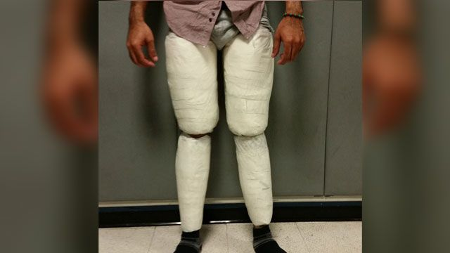 Man found with 10 lbs. of cocaine strapped to legs, police say