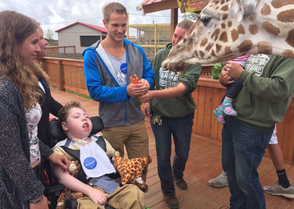 Wish Fulfilled: Ohio Boy Meets April the Giraffe