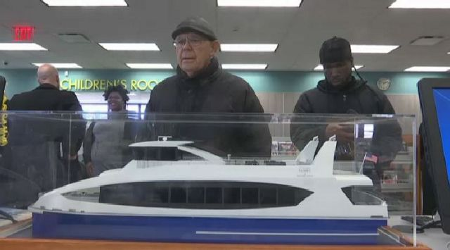 Model of Citywide Ferry Boat Sails into Queens Library in Rockaways