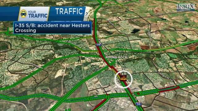 Traffic Clears in Round Rock After Wreck on I 35 at Hesters Crossing