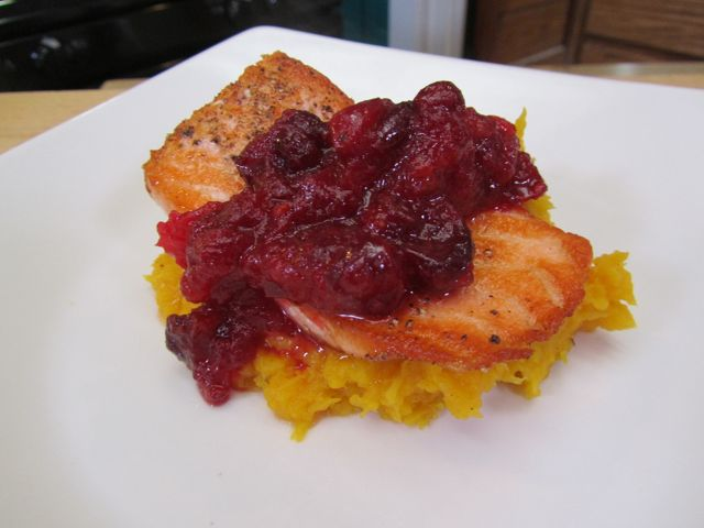 Salmon with Citrus Gin Cranberry Sauce