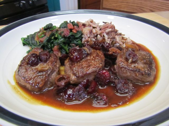 Venison Medallions with Dried Cranberries and Gin