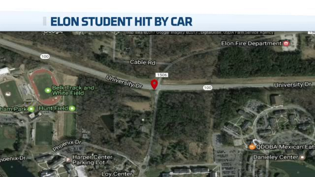 Elon student critical after being hit by auto while jogging