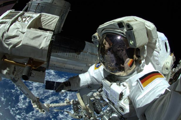 In this handout photo provided by the European Space Agency (ESA), German ESA astronaut Alexander Gerst takes a 'selfie' during his spacewalk, whilst aboard the International Space Station (ISS) on October 7, 2014 in Space. Gerst returned to earth on November 10, 2014 after spending six months on the International Space Station completing an extensive scientific programme, known as the 'Blue Dot' mission (after astronomer Carl Sagan's description of Earth, as seen on a photograph taken by the Voyager probe from six billion kilometres away).