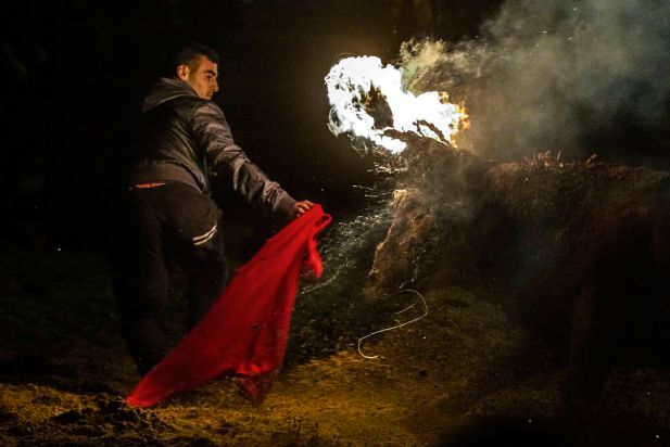 "A fire bull runs after a reveler during the 'Toro de Jubilo' Fire Bull Festival in Medinaceli, Spain, Sunday, Nov. 16, 2014. The Fire bull Festival ""Toro de Jubilo"" that takes place in the main square of Medinaceli is an ancient tradition from the bronze age. During the event a bull is tied to a pylon and flammable balls attached to the bull's horns are set on fire before the animal released. Revelers dodge the bull when it comes close until the flammable material is consumed. The bull is covered with a thick layer of mud on the back and face to protect it from burns."
