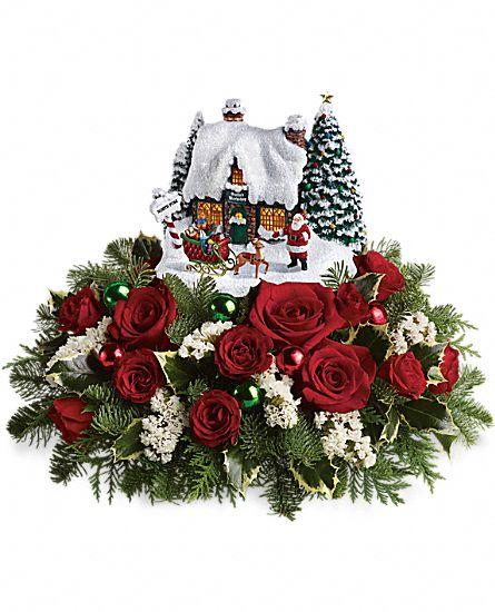 Thomas kinkade santa s workshop flowers