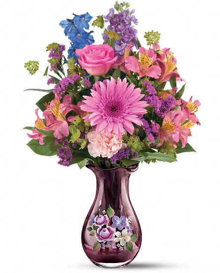 Teleflora's Fenton Art Glass Bouquet Flowers
